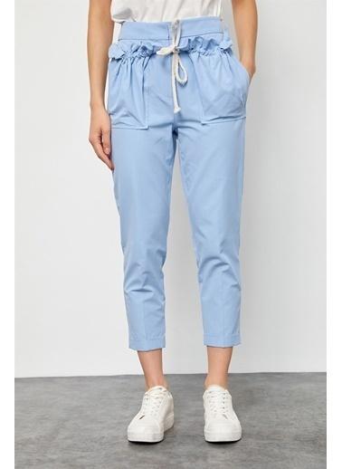 Setre Taş ıp Detaylı Pamuk Havuç Pantolon Mavi